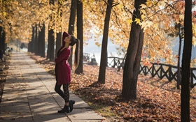 Red dress girl, dance, park, trees, autumn HD Papéis de Parede